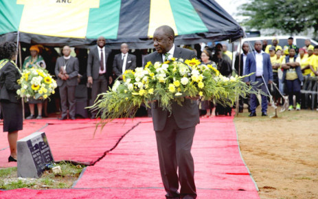 ANC president Cyril Ramaphosa lays a wreath at the gravesite of Solomon Plaatje on 8 January 2020. Plaatje was a founder member and the first general secretary of the South African Native National Congress (SANNC), which became ANC. Picture: @MYANC/Twitter