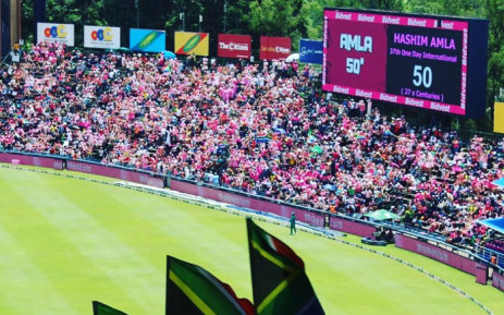 A scoreboard seen at the 4th Pink Day International cricket clash on Sunday 27 January 2019. Picture: @Momentum_za/Twitter