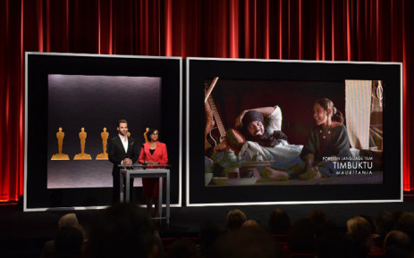 Actor Chris Pine and Academy President Cheryl Boone Isaacs announce the film 'Timbuktu' from Mauritania as a nominee for Best Foreign Language Film at the 87th Academy Awards Nominations Announcement at the AMPAS Samuel Goldwyn Theater on January 15, 2015 in Beverly Hills, California. Picture: AFP