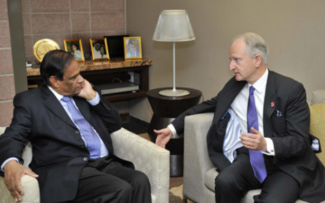 Deputy Minister of International Relations and Cooperation, Mr Ebrahim Ebrahim with United Kingdom (UK) Parliamentary Under Secretary of State at the Foreign and Commonwealth Office (FCO) responsible for Africa, Mr Henry Bellingham during their meeting. Picture: GCIS