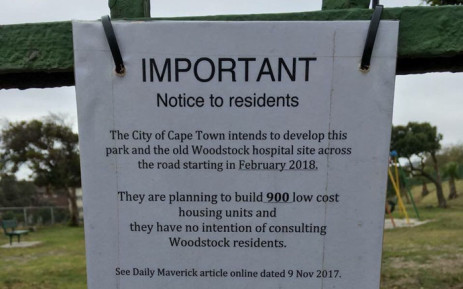 A flyer has been doing the rounds on social media, calling on residents to 'make their voices' regarding the City of Cape Town's plan to develop social housing units on the old Woodstock hospital grounds and a park in Golders Green road. Picture: Monique Mortlock/EWN