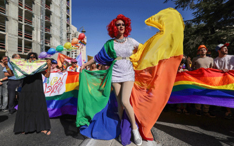 A drag queen poses for a picture as she takes part in an annual Pride Parade as Israel lifted COVID-19 restrictions, in Jerusalem on June 3, 2021. Thousands took part in Jerusalem's Pride march under heavy security over fears of extremism and a year after most of the globe's pride events were scrapped over the coronavirus pandemic. Picture: Emmanuel Dunand / AFP.