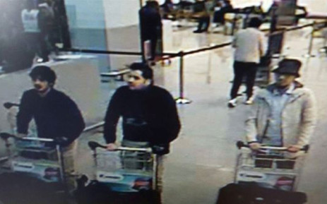 FILE: A picture released on 22 March, 2016 by the belgian federal police on demand of the Federal prosecutor shows a screengrab of the airport CCTV camera showing suspects of this morning's attacks at Brussels Airport, in Zaventem. Picture: AFP.