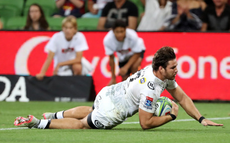 Marius Louw of the Sharks scores a late during the Super Rugby union match between the Melbourne Rebels of Australia and the Coastal Sharks of South Africa in Melbourne on 23 March 2018. Picture: AFP