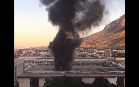 A video screengrab of a train fire at Cape Town station on 28 July 2018.