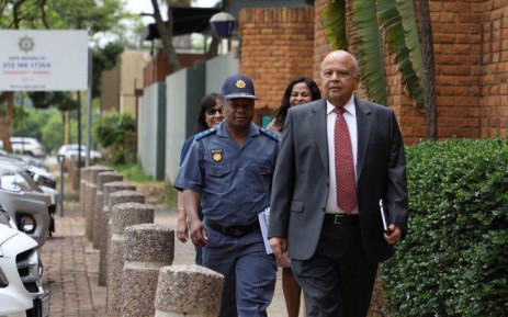 Public Enterprises Pravin Gordhan arrives at Brooklyn Police station to open a case against EFF leader Julius Malema on 26 November 2018. Picture: Abigail Javier/EWN