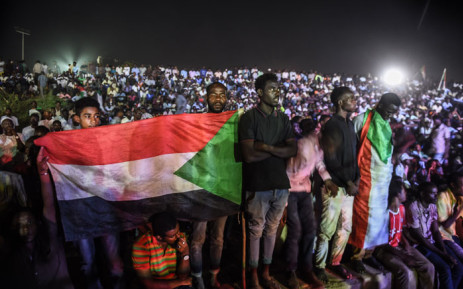 Sudanese protesters are gathered during a sit-in outside military headquarters after clashing with security forces in Khartoum on 15 May 2019. Picture: AFP