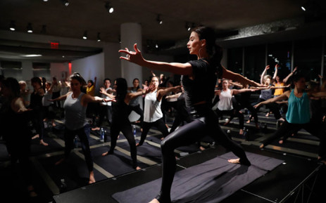 "FILE: Hilaria Baldwin leads a yoga class at the Carbon38 and Hilaria Baldwin Host ""Om For A Cause"" for Girls, Inc at the Glass Houses on 3December 2018 in New York City. Picture: AFP"