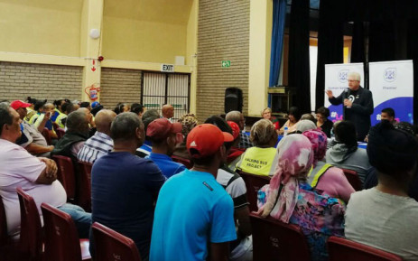 Western Cape Premier Alan Winde addresses Atlantis residents on the province's safety plan on 15 October 2019. Picture: @alanwinde/Twitter