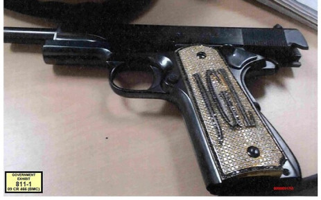 "This handout photograph obtained from Brooklyn federal court shows ""El Chapo"" Guzman Loera's .38 Super pistol encrusted with diamonds on the handle and his initials ""JGL"", which was used as an exhibit by the government Monday, 19 November, 2018 by government prosecutors to the jury during Guzman's trial in Brooklyn federal court. Picture: AFP"