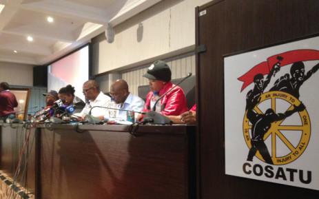 Cosatu leadership at Press conference at Cosatu House in Johannesburg. Picture: Reinart Toerein/EWN.