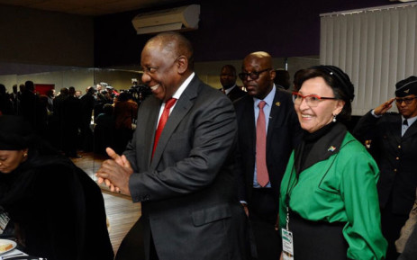 President Cyril Ramaphosa and Sophie De-Bruyn arrive at the National Women's Day event in Mbekweni, Paarl, in the Western Cape. Picture: @PresidencyZA/Twitter