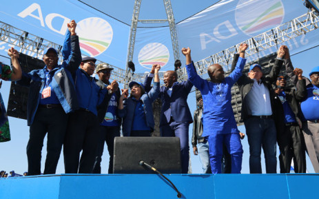 DA leader Mmusi Maimane the party's mayoral candidates at their final elections rally in Soweto on 30 July 2016. Picture: Christa Eybers