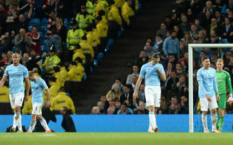 Visibly frustrated Manchester City players walk away after their 2-2 draw with Sunderland in the English Premier League on 16 April 2014. Picture: Facebook.