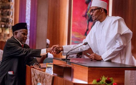 President Muhammadu Buhari swears-in Justice Ibrahim Tanko Mohammed as Acting Chief Justice of Nigeria. Picture: @NGRPresident/Twitter