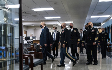 US President Donald Trump wears a mask as he visits Walter Reed National Military Medical Center in Bethesda, Maryland' on 11 July 2020. Picture: AFP