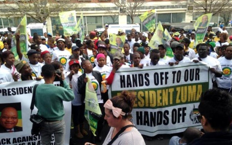 ANC Youth League members and supporters protest outside the Mail & Guardian offices in Rosebank, Johannesburg on 5 June 2014. Picture: Masego Rahlaga/EWN.