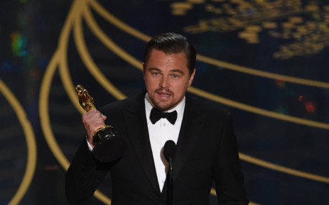 Actor Leonardo DiCaprio accepts the award for Best Actor in, 'The Revenant' on stage at the 88th Oscars on 28 February, 2016 in Hollywood, California. Picture: AFP.