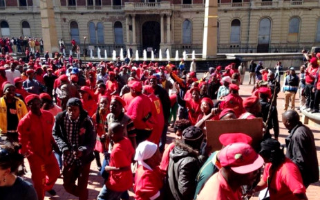 Members of the EFF protest outside the Gauteng Provincial Legislature on 22 July 2014. Picture: Masego Rahlaga/EWN.