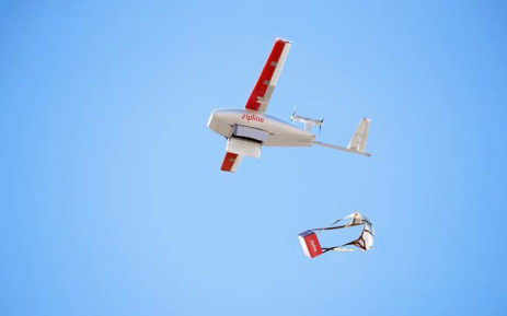 Airborne drones will carry medical supplies to remote areas. Picture: Twitter/@zipline