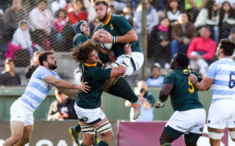 South Africa's Duane Vermeulen fields a high ball during the Rugby Chmapionship match against Argentina in Salta on 10 August 2019. Picture: @Springboks/Twitter