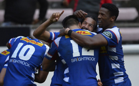 FILE: Stormers players celebrate a try. Picture: @THESTORMERS/Twitter