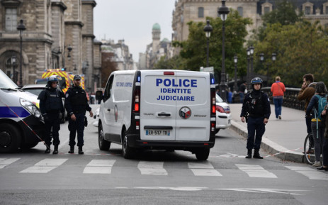 Police block the street near Paris police headquarters on 3 October 2019 after a knife attack. Picture: AFP
