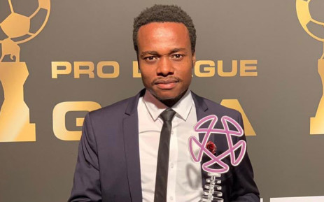 South African footballer Percy Tau with his Belgian second division Player of the Season Award. Picture: @percymuzitau22/Twitter