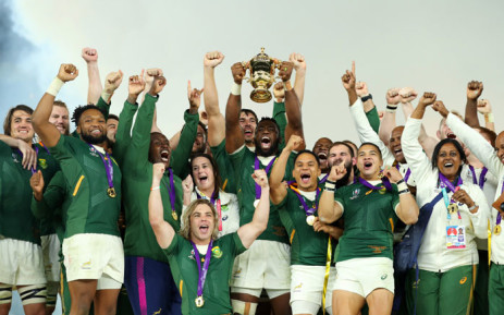 The Springboks celebrate after their win over England at the 2019 Rugby World Cup on 2 November 2019 in Japan.  Picture:  @rugbyworldcup/Twitter