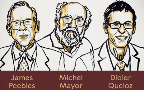 An illustration of 2019 Nobel Physics Prize winners James Peebles, Michel Mayor and Didier Queloz. Picture: @NobelPrize/Twitter