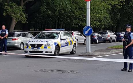 Police officers cordon off the area close to the mosque after a gunman filmed himself firing at worshippers inside in Christchurch on 15 March 2019. A gunman opened fire inside the Masjid al Noor mosque during afternoon prayers, causing multiple fatalities. Picture: AFP