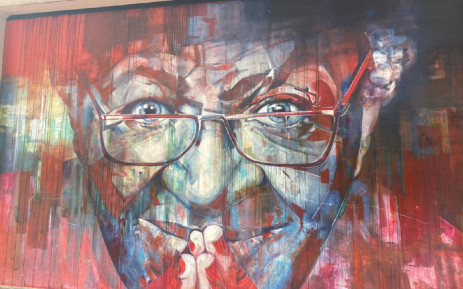 This mural of Archbishop Desmond Tutu in Cape Town was vandalised and defaced with the K-word slur, which has been blurred out. Picture: @ForGoodZA/Twitter