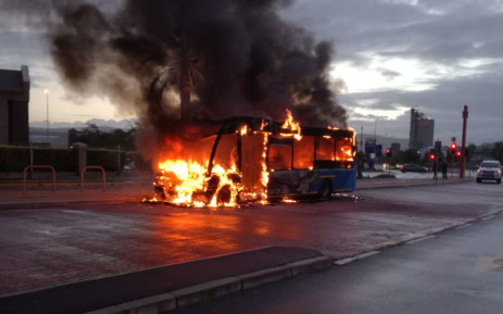 FILE: A MyCiTi bus on fire at a bus station along Racecourse Road in Milnerton on 6 November 2018. Picture: One Second Alerts