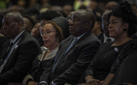 President Cyril Ramaphosa and first lady Tshepo Motsepe at the funeral of the late Dr Richard Maponya on 14 January 2020. Picture: Abigail Javier/EWN
