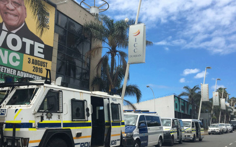 Police vehicles stationed outside the ANC's offices in KwaZulu-Natal where members protested over a new provincial task team, on 29 January 2018. Picture: Ziyanda Ngcobo/EWN.