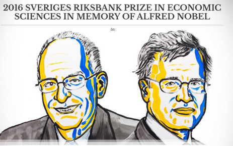 A screengrab of the winners of the 2016 Nobel Prize for Economics, Oliver Hart and Bengt Holmstrom. Picture: Twitter/@NobelPrize.