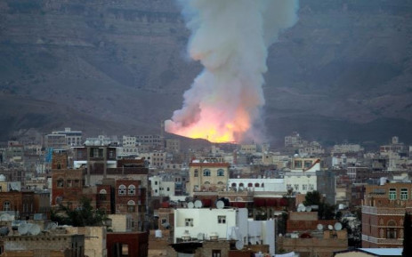Smoke billows following an air-strike by Saudi-led coalition on 11 May 2015, in the Yemen capital of Sanaa. Picture: AFP.