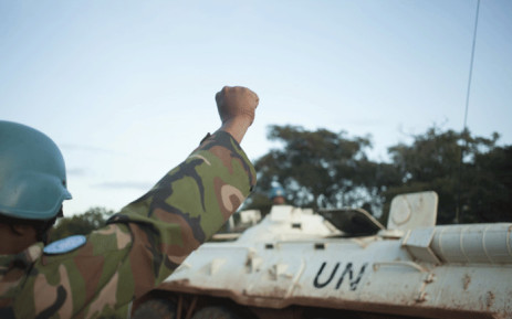 FILE: A member of a patrol of the Bangladeshi contingent of the United Nations Multidimensional Integrated Stabilisation Mission in the Central African Republic (MINUSCA) gestures towards an armoured personnel carrier. Picture: AFP