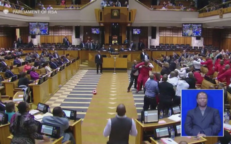 FILE: Members of the Economic Freedom Fighters (EFF) being ejected from the Chambers during President Jacob Zuma's Question and Answer session, on 17 May 2016. Picture: Youtube Screengrab.