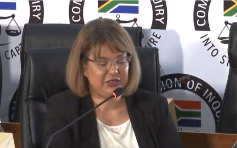 A YouTube screengrab of former Eskom secretary Suzanne Daniels at the state capture commission on 7 December 2020.