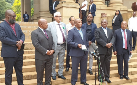 President Cyril Ramaphosa met the leaders of various organisations including Cope, the Inkatha Freedom Party, African Transformation Movement and the United Democratic Movement at the Union Buildings. Picture: Bantu Holomisa.
