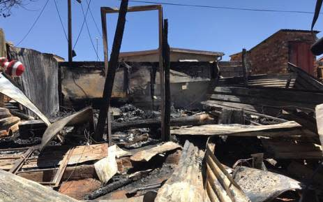 FILE: The remains of shack following a fire. Picture: EWN