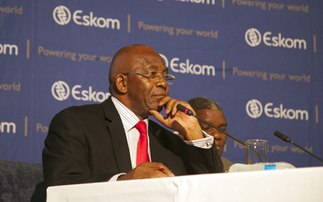 Eskom Chairman Zola Tsotsi sitting talking to media and staff after the utility called an emergency press briefing at its Megawatt Park on 12 March 2015. Picture: Reinart Toerien/EWN.