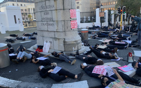 Protesters demonstrate against gender-based violence in front of Parliament on 30 June 2020. Picture: Kaylynn Palm/EWN
