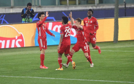 Bayern Munich players celebrate a goal in their Uefa Champions League match against Lazio on 23 February 2021. Picture: @FCBayernEN/Twitter
