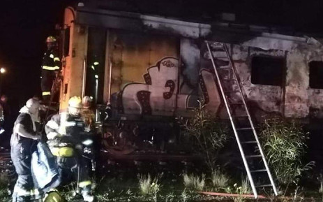 Firefighting members on scene in Blackheath, Cape Town, where two train carriages  were destroyed in a fire on 8 July 2019. Picture: 1 Second Alerts.