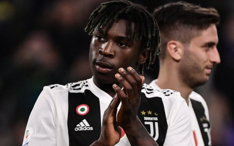 Juventus' Italian forward Moise Kean acknowledges the public at the end of the Italian Serie A football match Juventus vs Empoli on 30 March 2019 at the Juventus stadium in Turin. Picture: AFP