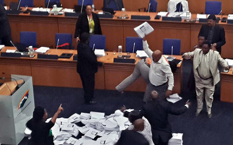 Drama at Cape Town City Council meeting on 27 February 2014 where ANC councillors threw copies of a draft budget onto the floor. Picture: Via Twitter ‏@JanTamb.