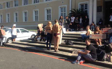 Dozens of students have gathered outside the Bremner Building to discuss sexual assault and sexual harassment at UCT on 11 May, 2016. Picture: Shamiela Fisher/EWN.