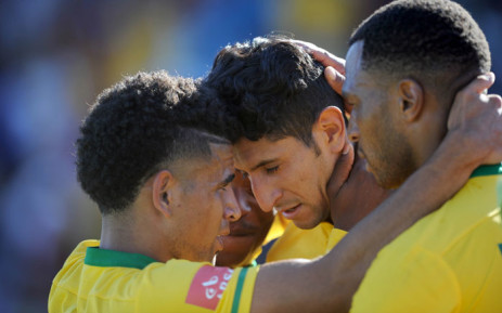 Leonardo Castro of Mamelodi Sundowns celebrates a goal with teammates during the Absa Premiership match between Free State Stars and Mamelodi Sundowns on 7 February 2016 at James Motlatsi Stadium. Picture: Sydney Mahlangu/BackpagePix.
